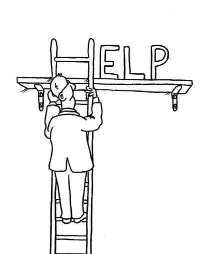 Man climbs a ladder only to find the word HELP.